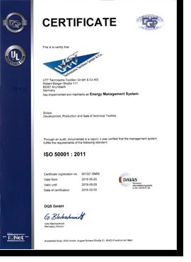 Zertifikat ISO 50001 : 2011